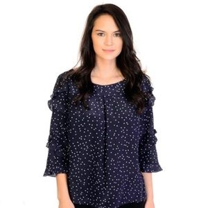 Anthropologie Maeve Polka Dot Ruffle Top 100% Silk